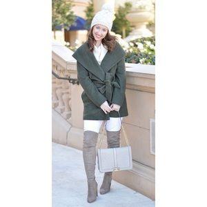 Old Navy Olive Green Wrap Wool Blend Jacket